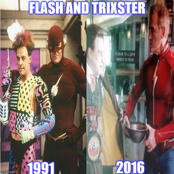 FLASH AND TRIXSTER | FLASH AND TRIXSTER 1991 2016 | image tagged in flash and trixster,john wesley shipp,mark hamill,1991-2016 | made w/ Imgflip meme maker