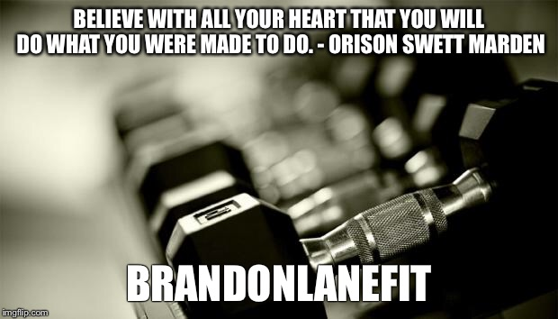 gym weights | BELIEVE WITH ALL YOUR HEART THAT YOU WILL DO WHAT YOU WERE MADE TO DO. - ORISON SWETT MARDEN BRANDONLANEFIT | image tagged in gym weights | made w/ Imgflip meme maker