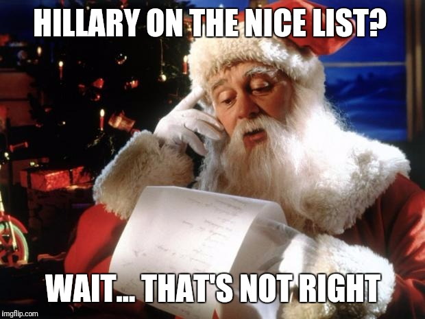 HILLARY ON THE NICE LIST? WAIT... THAT'S NOT RIGHT | made w/ Imgflip meme maker