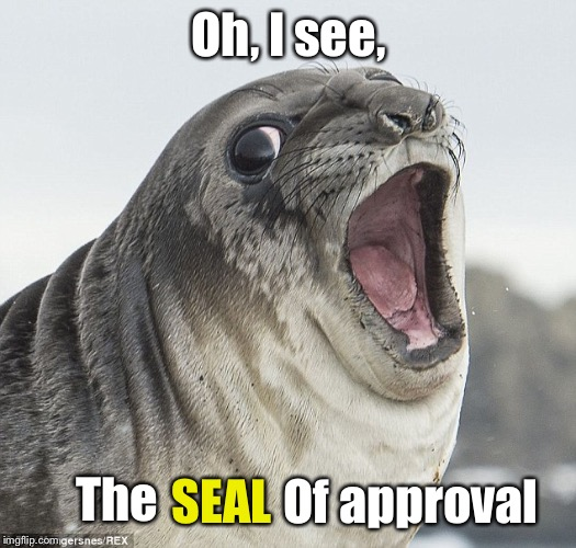 Joke Seal | Oh, I see, The SEAL Of approval | image tagged in joke seal | made w/ Imgflip meme maker