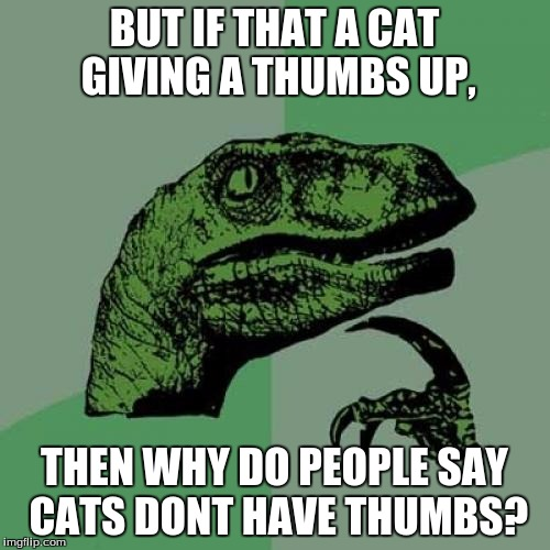 Philosoraptor Meme | BUT IF THAT A CAT GIVING A THUMBS UP, THEN WHY DO PEOPLE SAY CATS DONT HAVE THUMBS? | image tagged in memes,philosoraptor | made w/ Imgflip meme maker