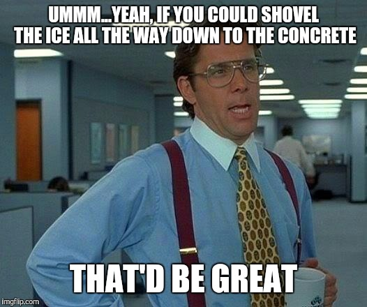 That Would Be Great Meme | UMMM...YEAH, IF YOU COULD SHOVEL THE ICE ALL THE WAY DOWN TO THE CONCRETE THAT'D BE GREAT | image tagged in memes,that would be great | made w/ Imgflip meme maker