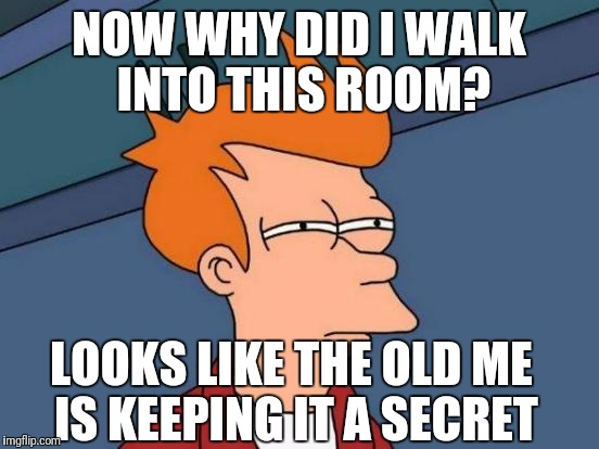 Futurama Fry Meme | NOW WHY DID I WALK INTO THIS ROOM? LOOKS LIKE THE OLD ME IS KEEPING IT A SECRET | image tagged in memes,futurama fry | made w/ Imgflip meme maker
