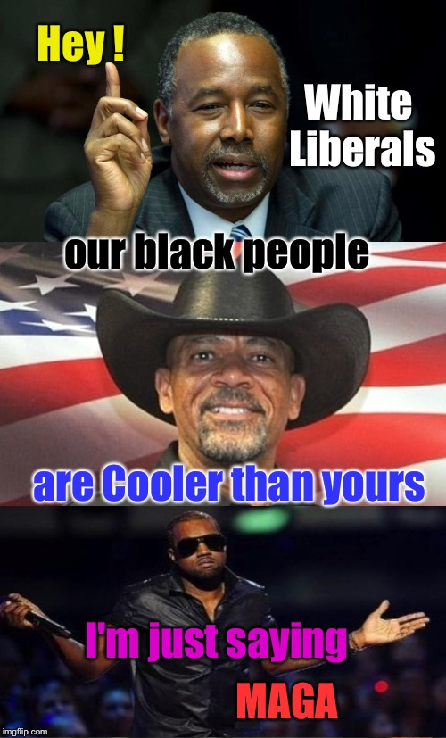 Black Republican and Cool | Hey ! I'm just saying White Liberals our black people are Cooler than yours MAGA | image tagged in college liberal,liberals,liberal vs conservative,ben carson,sheriff clarke,kanye west | made w/ Imgflip meme maker