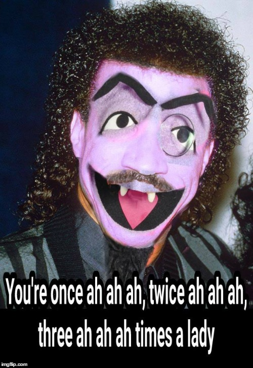 Lionel Richie loves to count | image tagged in lionel richie,count dracula,the count | made w/ Imgflip meme maker