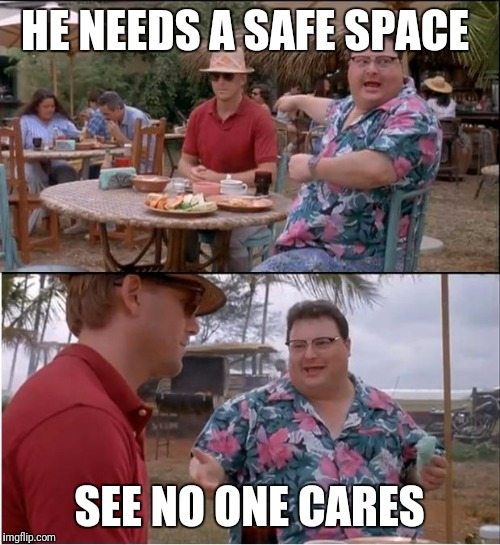 See Nobody Cares Meme | HE NEEDS A SAFE SPACE SEE NO ONE CARES | image tagged in memes,see nobody cares | made w/ Imgflip meme maker