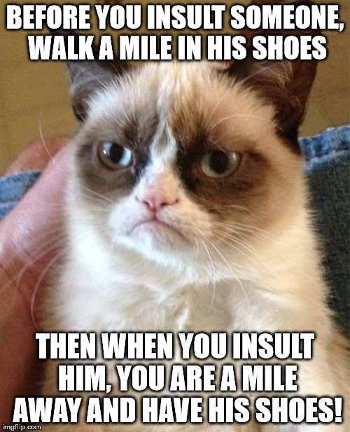 like i always say: | BEFORE YOU INSULT SOMEONE, WALK A MILE IN HIS SHOES THEN WHEN YOU INSULT HIM, YOU ARE A MILE AWAY AND HAVE HIS SHOES! | image tagged in memes,grumpy cat | made w/ Imgflip meme maker