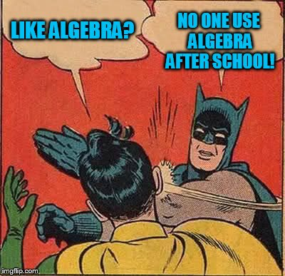Batman Slapping Robin Meme | LIKE ALGEBRA? NO ONE USE ALGEBRA AFTER SCHOOL! | image tagged in memes,batman slapping robin | made w/ Imgflip meme maker