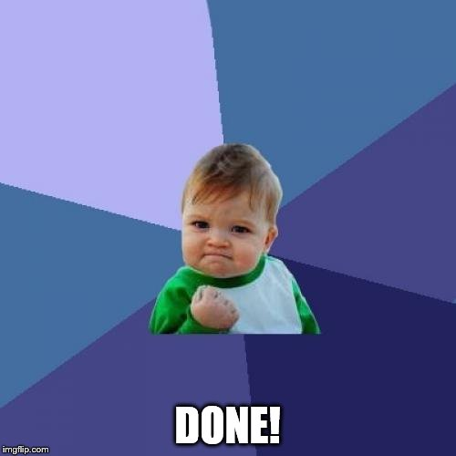 Success Kid Meme | DONE! | image tagged in memes,success kid | made w/ Imgflip meme maker