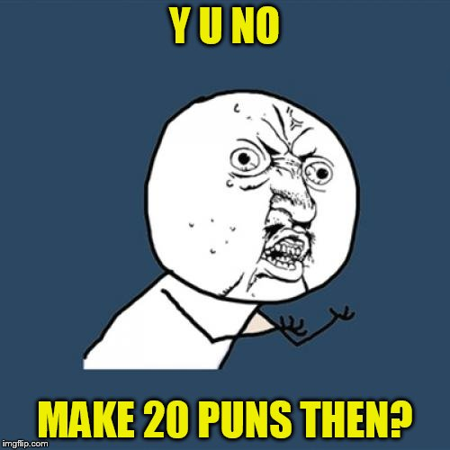 Y U No Meme | Y U NO MAKE 20 PUNS THEN? | image tagged in memes,y u no | made w/ Imgflip meme maker