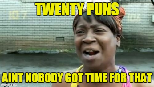 Aint Nobody Got Time For That Meme | TWENTY PUNS AINT NOBODY GOT TIME FOR THAT | image tagged in memes,aint nobody got time for that | made w/ Imgflip meme maker