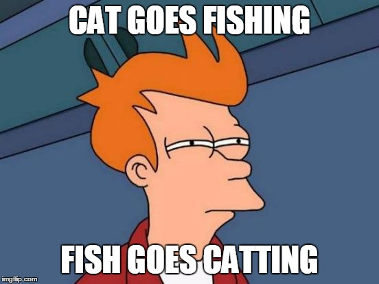 Futurama Fry Meme | CAT GOES FISHING FISH GOES CATTING | image tagged in memes,futurama fry | made w/ Imgflip meme maker