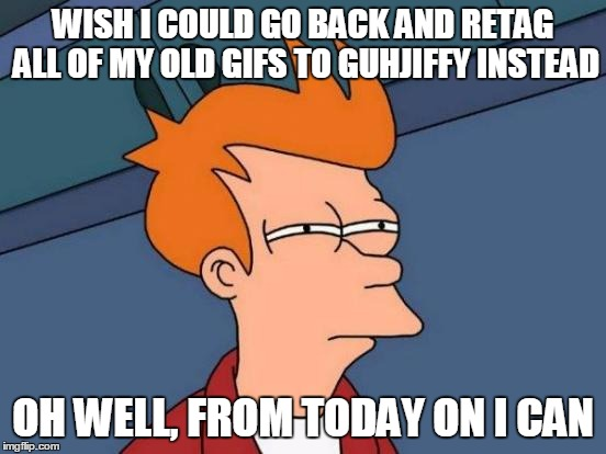 Futurama Fry Meme | WISH I COULD GO BACK AND RETAG ALL OF MY OLD GIFS TO GUHJIFFY INSTEAD OH WELL, FROM TODAY ON I CAN | image tagged in memes,futurama fry | made w/ Imgflip meme maker