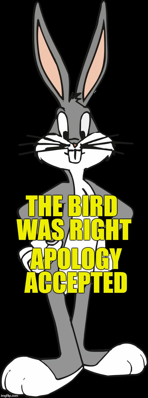 Bugs Bunny | THE BIRD WAS RIGHT APOLOGY ACCEPTED | image tagged in bugs bunny | made w/ Imgflip meme maker
