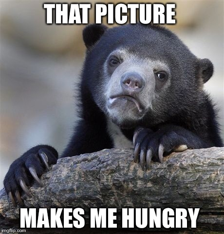 Confession Bear Meme | THAT PICTURE MAKES ME HUNGRY | image tagged in memes,confession bear | made w/ Imgflip meme maker