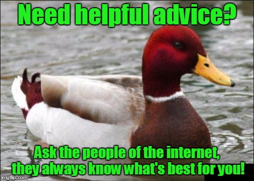 I actually do need a bit of advice right now (see comments) | Need helpful advice? Ask the people of the internet, they always know what's best for you! | image tagged in memes,malicious advice mallard,trhtimmy | made w/ Imgflip meme maker