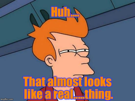 Futurama Fry Meme | Huh.... That almost looks like a real.....thing. | image tagged in memes,futurama fry | made w/ Imgflip meme maker