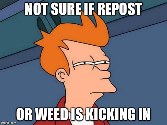 Futurama Fry Meme | NOT SURE IF REPOST OR WEED IS KICKING IN | image tagged in memes,futurama fry | made w/ Imgflip meme maker