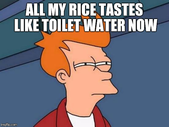 Futurama Fry Meme | ALL MY RICE TASTES LIKE TOILET WATER NOW | image tagged in memes,futurama fry | made w/ Imgflip meme maker