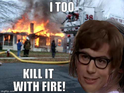 Disaster Girl Meme | I TOO KILL IT WITH FIRE! | image tagged in memes,disaster girl | made w/ Imgflip meme maker