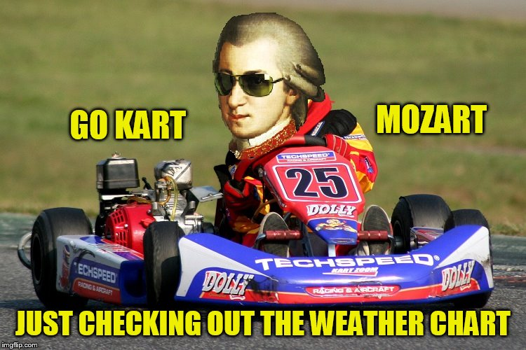 GO KART JUST CHECKING OUT THE WEATHER CHART MOZART | made w/ Imgflip meme maker