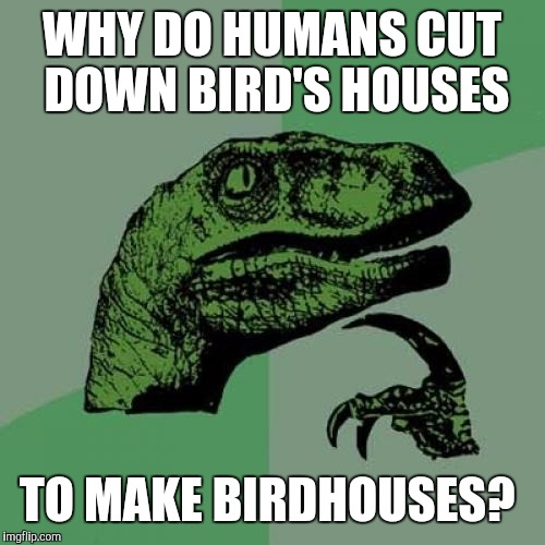 Philosoraptor Meme | WHY DO HUMANS CUT DOWN BIRD'S HOUSES TO MAKE BIRDHOUSES? | image tagged in memes,philosoraptor | made w/ Imgflip meme maker
