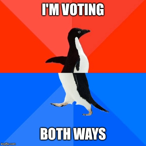 Socially Awesome Awkward Penguin Meme | I'M VOTING BOTH WAYS | image tagged in memes,socially awesome awkward penguin | made w/ Imgflip meme maker
