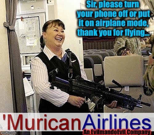 Flying the EvilmandoEvil Skies and we're 100% Jihadi free! | Sir, please turn your phone off or put it on airplane mode, thank you for flying... An EvilmandoEvil Company | image tagged in murican airlines,memes,evilmandoevil,funny | made w/ Imgflip meme maker