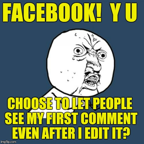 Y U No Meme | FACEBOOK!  Y U CHOOSE TO LET PEOPLE SEE MY FIRST COMMENT EVEN AFTER I EDIT IT? | image tagged in memes,y u no | made w/ Imgflip meme maker