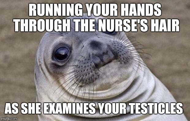 Awkward Moment Sealion Meme | RUNNING YOUR HANDS THROUGH THE NURSE'S HAIR AS SHE EXAMINES YOUR TESTICLES | image tagged in memes,awkward moment sealion | made w/ Imgflip meme maker