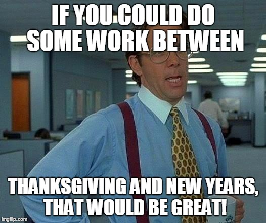 That Would Be Great Meme | IF YOU COULD DO SOME WORK BETWEEN THANKSGIVING AND NEW YEARS, THAT WOULD BE GREAT! | image tagged in memes,that would be great | made w/ Imgflip meme maker