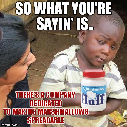 Goes good with some jif... | SO WHAT YOU'RE SAYIN' IS.. THERE'S A COMPANY DEDICATED TO MAKING MARSHMALLOWS SPREADABLE | image tagged in memes,third world skeptical kid,guhjiffy | made w/ Imgflip meme maker