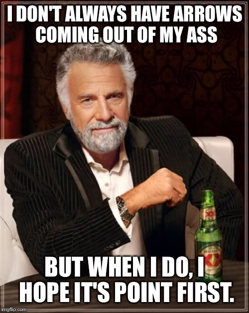 The Most Interesting Man In The World Meme | I DON'T ALWAYS HAVE ARROWS COMING OUT OF MY ASS BUT WHEN I DO, I HOPE IT'S POINT FIRST. | image tagged in memes,the most interesting man in the world | made w/ Imgflip meme maker