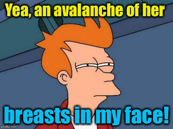 Futurama Fry Meme | Yea, an avalanche of her breasts in my face! | image tagged in memes,futurama fry | made w/ Imgflip meme maker