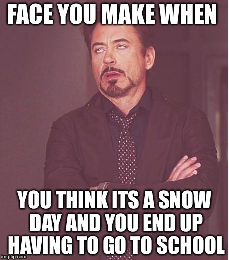 Face You Make Robert Downey Jr | FACE YOU MAKE WHEN YOU THINK ITS A SNOW DAY AND YOU END UP HAVING TO GO TO SCHOOL | image tagged in memes,face you make robert downey jr | made w/ Imgflip meme maker