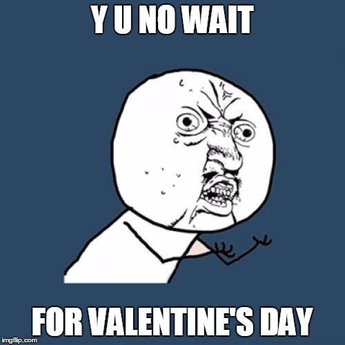 Y U No Meme | Y U NO WAIT FOR VALENTINE'S DAY | image tagged in memes,y u no | made w/ Imgflip meme maker