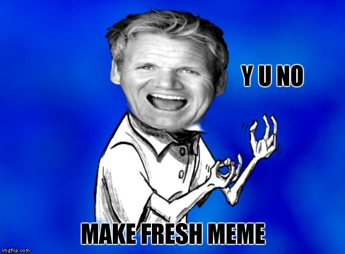 Y U NO MAKE FRESH MEME | image tagged in y u no gordon ramsay | made w/ Imgflip meme maker