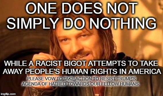 One Does Not Simply Meme | ONE DOES NOT SIMPLY DO NOTHING WHILE A RACIST BIGOT ATTEMPTS TO TAKE AWAY PEOPLE'S HUMAN RIGHTS IN AMERICA PLEASE VOW TO TAKE ACTION TO RESI | image tagged in memes,one does not simply | made w/ Imgflip meme maker