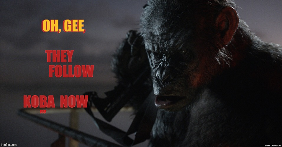 Apes Follow Koba Now,,, | OH, GEE,                THEY          FOLLOW             KOBA  NOW OH, GEE ,,, | image tagged in apes follow koba now | made w/ Imgflip meme maker