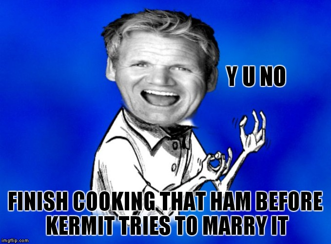 I am so ready for Christmas dinner! | Y U NO FINISH COOKING THAT HAM BEFORE KERMIT TRIES TO MARRY IT | image tagged in y u no gordon ramsay | made w/ Imgflip meme maker