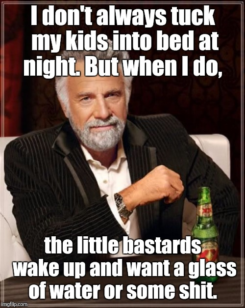 The Most Interesting Man In The World Meme | I don't always tuck my kids into bed at night. But when I do, the little bastards wake up and want a glass of water or some shit. | image tagged in memes,the most interesting man in the world | made w/ Imgflip meme maker