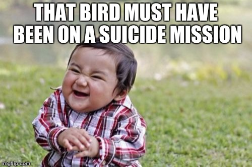 Evil Toddler Meme | THAT BIRD MUST HAVE BEEN ON A SUICIDE MISSION | image tagged in memes,evil toddler | made w/ Imgflip meme maker