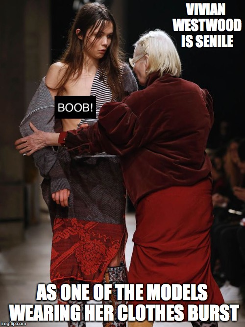 Vivian Westwood | VIVIAN WESTWOOD IS SENILE AS ONE OF THE MODELS WEARING HER CLOTHES BURST | image tagged in vivian westwood,senile,memes | made w/ Imgflip meme maker