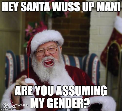 HEY SANTA WUSS UP MAN! ARE YOU ASSUMING MY GENDER? | image tagged in santa claus,gender identity | made w/ Imgflip meme maker