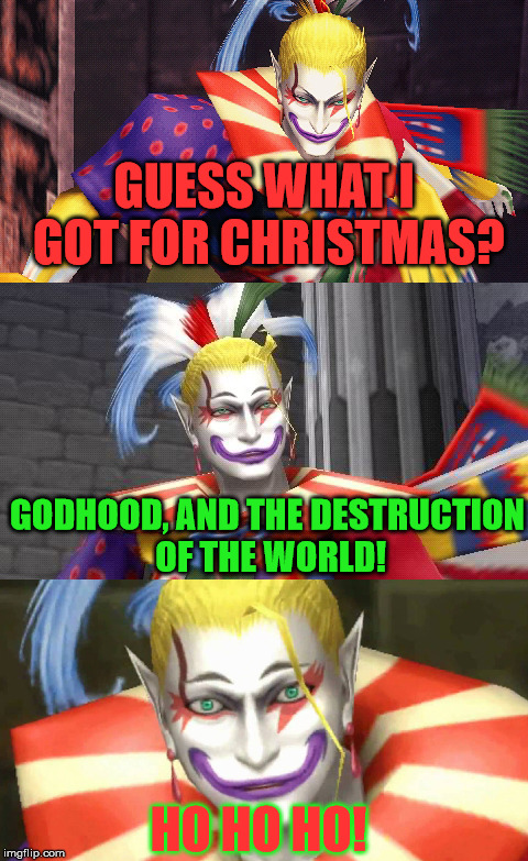 Kefka Wishes You and Himself a Merry Christmas. ;3 | GUESS WHAT I GOT FOR CHRISTMAS? GODHOOD, AND THE DESTRUCTION OF THE WORLD! HO HO HO! | image tagged in bad pun kefka,aegis_runestone,christmas,ff6 reference | made w/ Imgflip meme maker