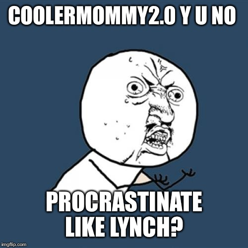 Y U No Meme | COOLERMOMMY2.0 Y U NO PROCRASTINATE LIKE LYNCH? | image tagged in memes,y u no | made w/ Imgflip meme maker