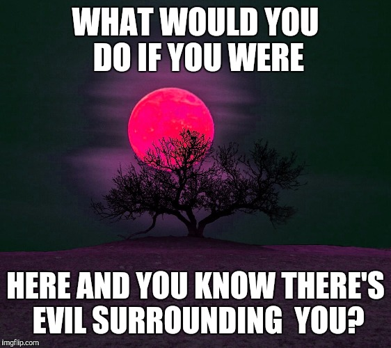WHAT WOULD YOU DO IF YOU WERE HERE AND YOU KNOW THERE'S EVIL SURROUNDING  YOU? | image tagged in darkness,full moon | made w/ Imgflip meme maker