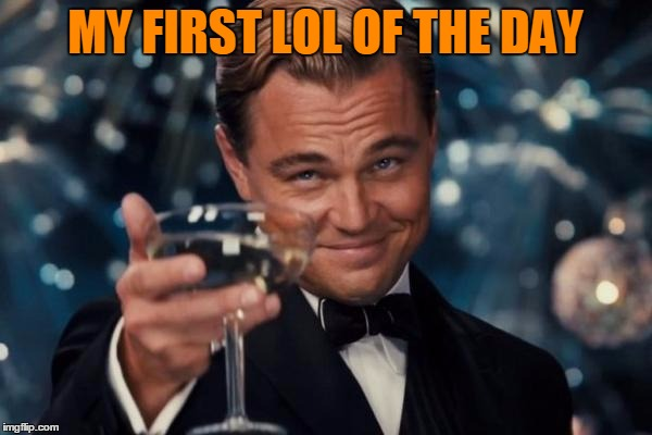 Leonardo Dicaprio Cheers Meme | MY FIRST LOL OF THE DAY | image tagged in memes,leonardo dicaprio cheers | made w/ Imgflip meme maker