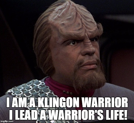 I AM A KLINGON WARRIOR I LEAD A WARRIOR'S LIFE! | image tagged in worf,star trek,star trek deep space nine,klingon warrior | made w/ Imgflip meme maker
