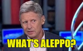 What's Aleppo?  | WHAT'S ALEPPO? | image tagged in gary johnson,wtf,wannabe,2016 presidential candidates | made w/ Imgflip meme maker